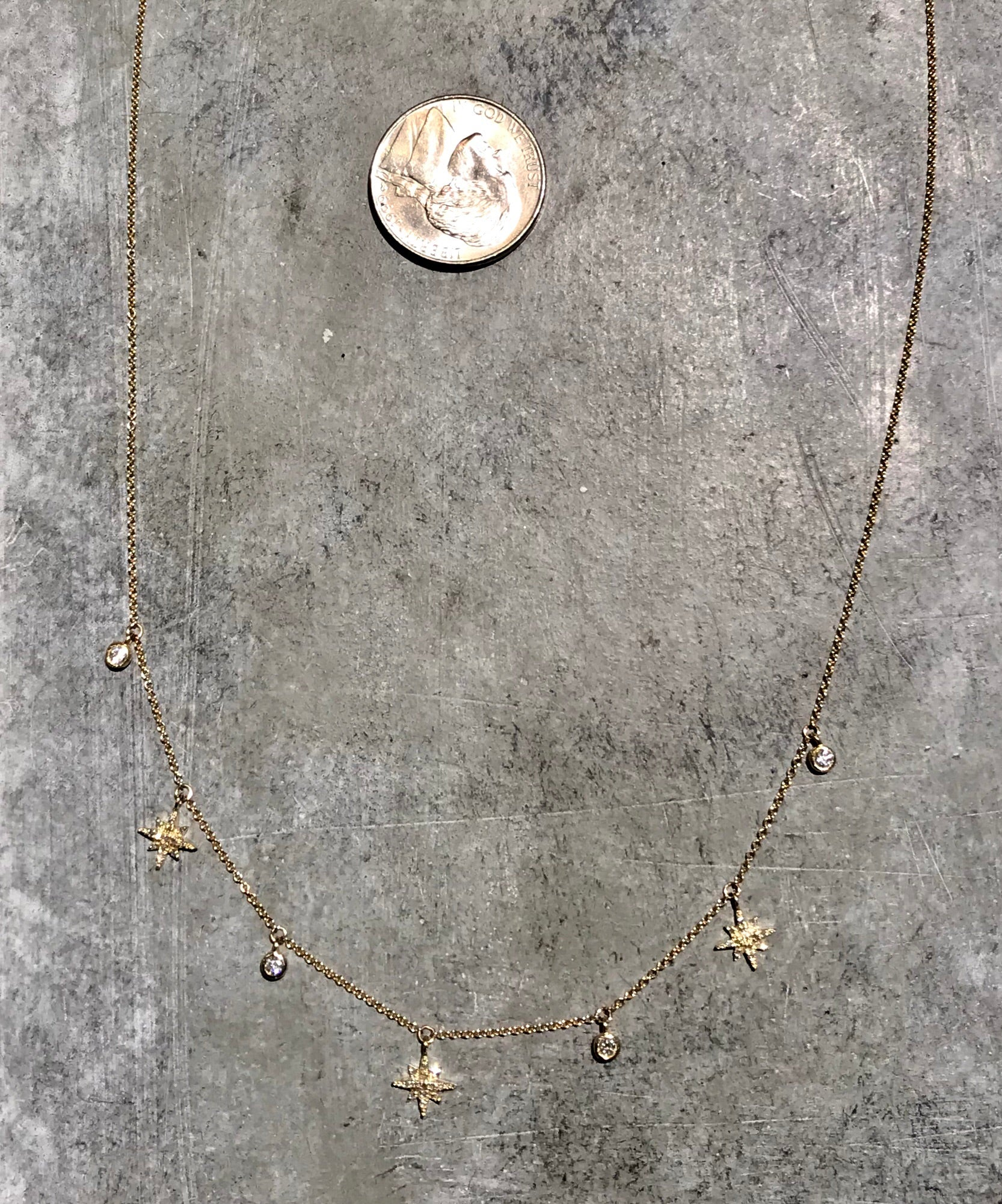 14K Diamond Stars Necklace