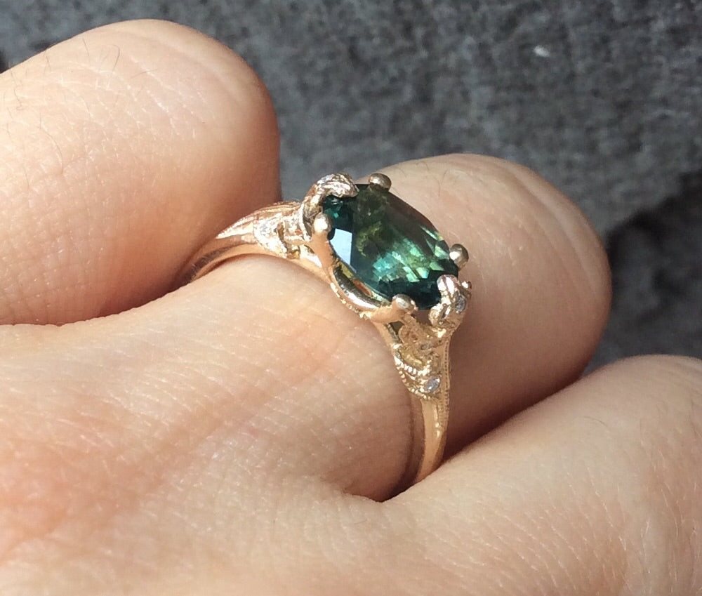 14K Bethany Leaf Ring - Green Tourmaline