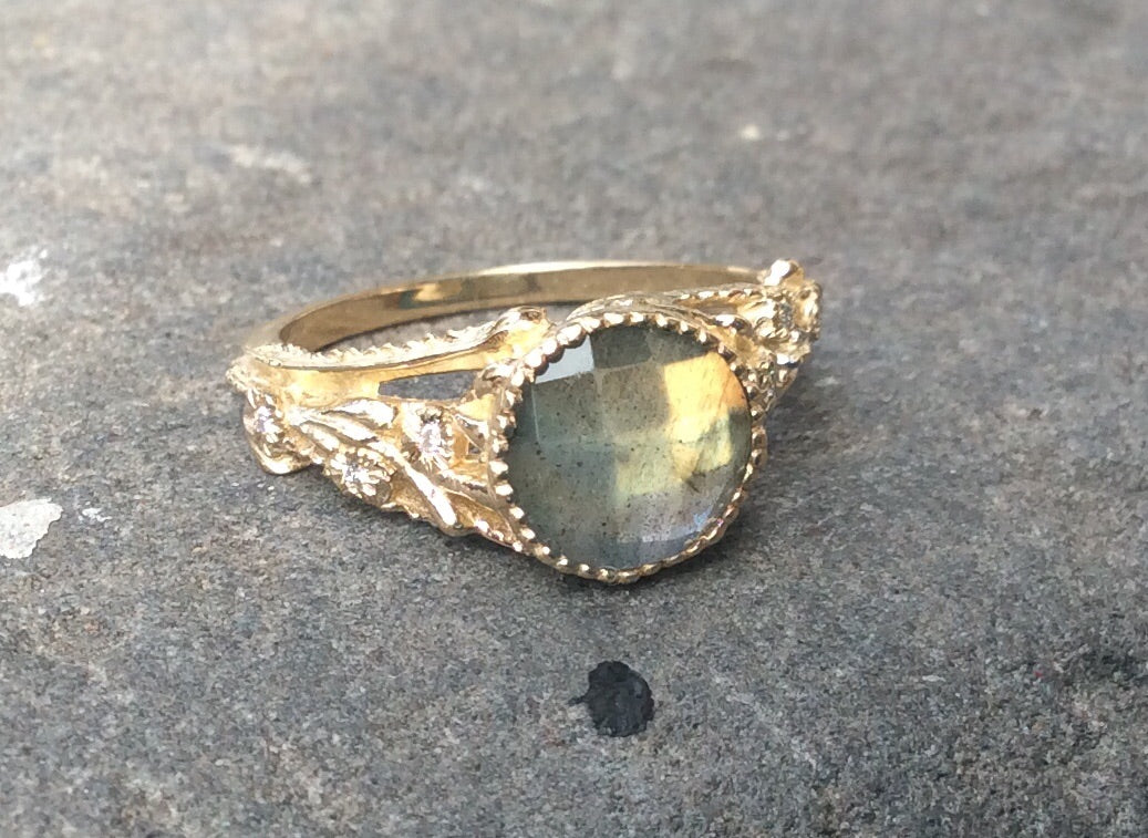 14K Diamond Ophelia Flower Ring - Labradorite