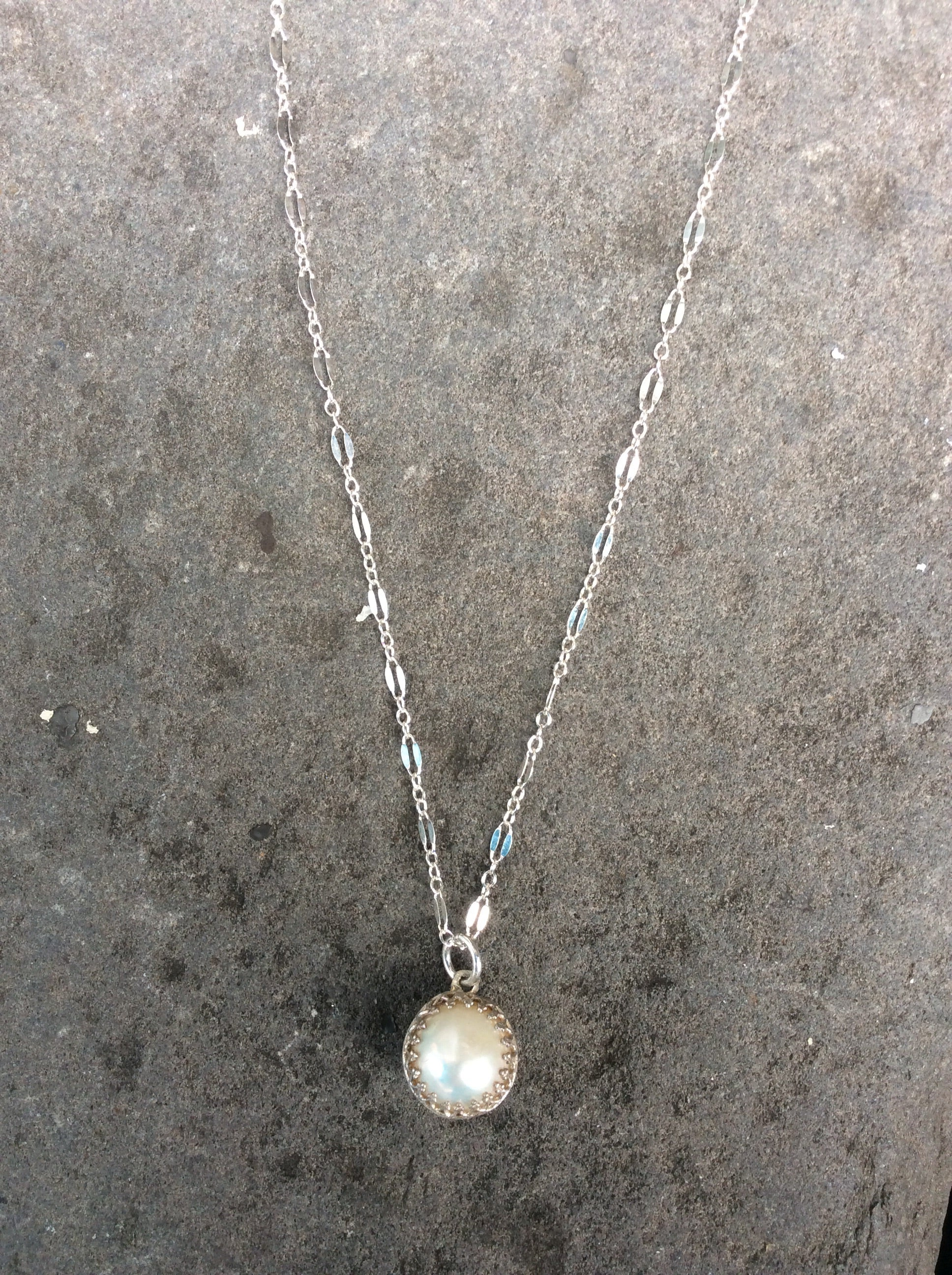 Sterling Silver Crown Set Akoya Pearl Necklace