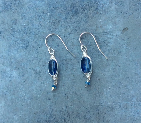 10mm Wrapped Kyanite Gem Earrings with Crystal Droplet