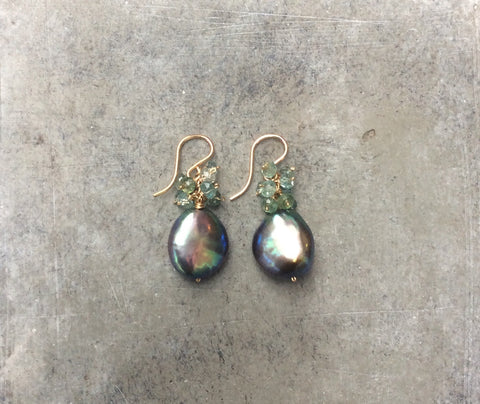 Freshwater Peacock Pearl Drops & Apatite/Green Amethyst Cluster Earrings
