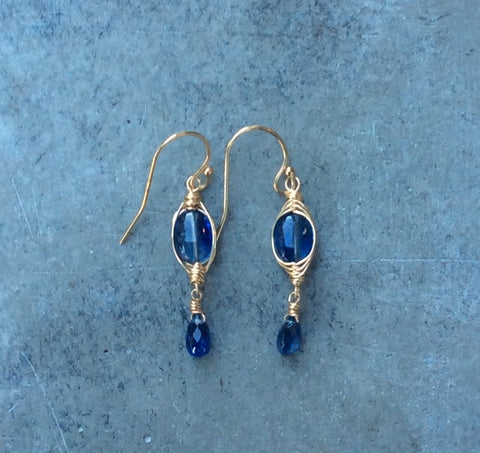 10mm Wrapped Kyanite Gem Earrings with Briolettes