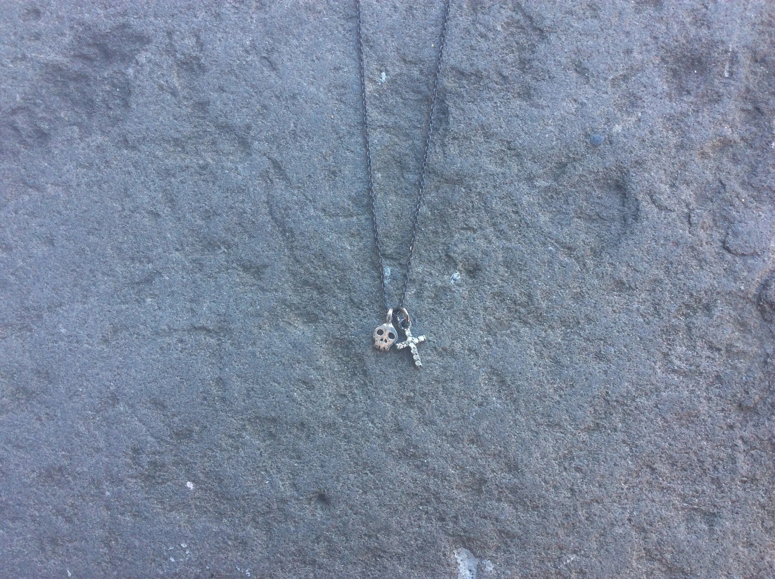 Tiny Skull Gem and Diamond Cross Necklace