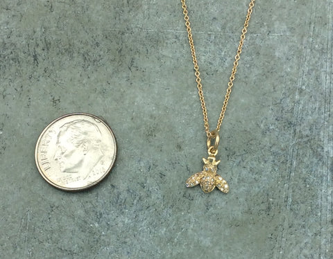Petite Pave Diamond Bee Necklace