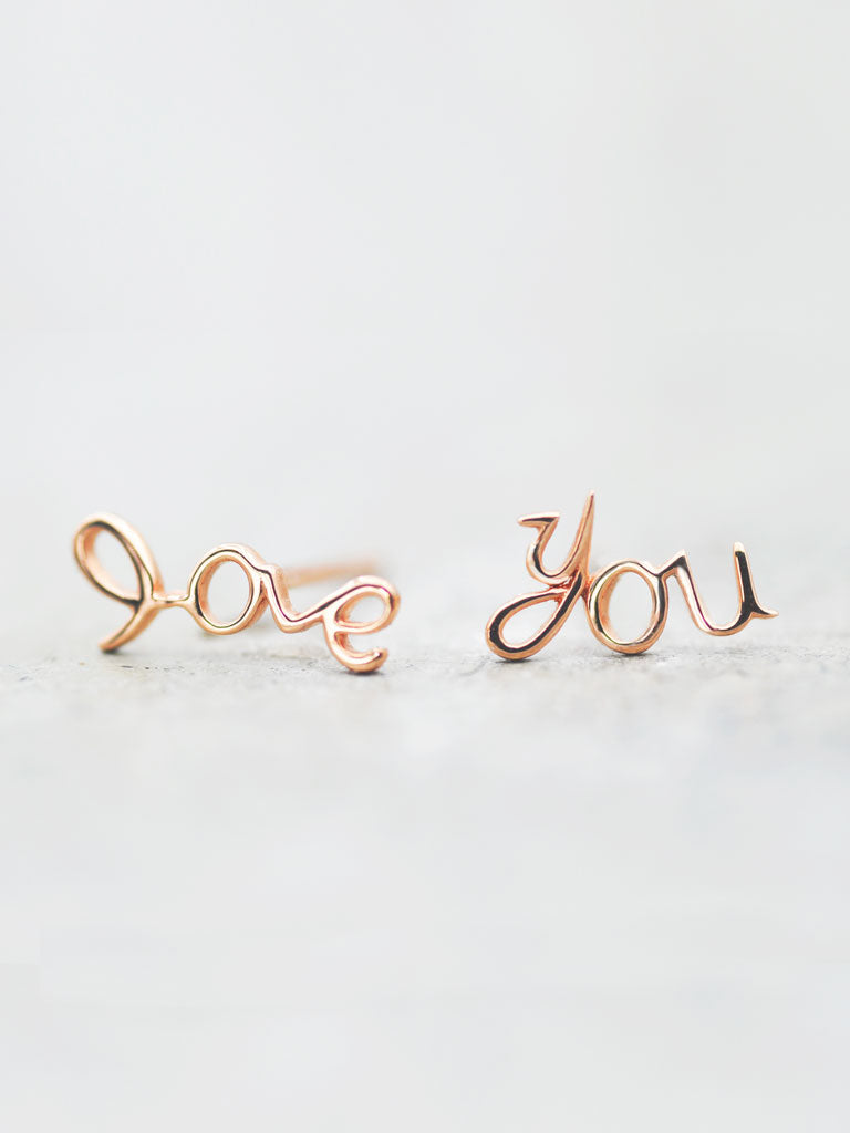 14K Script 'Love You' Post Earrings