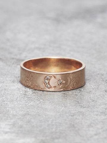 14K Moon Goddess Ring