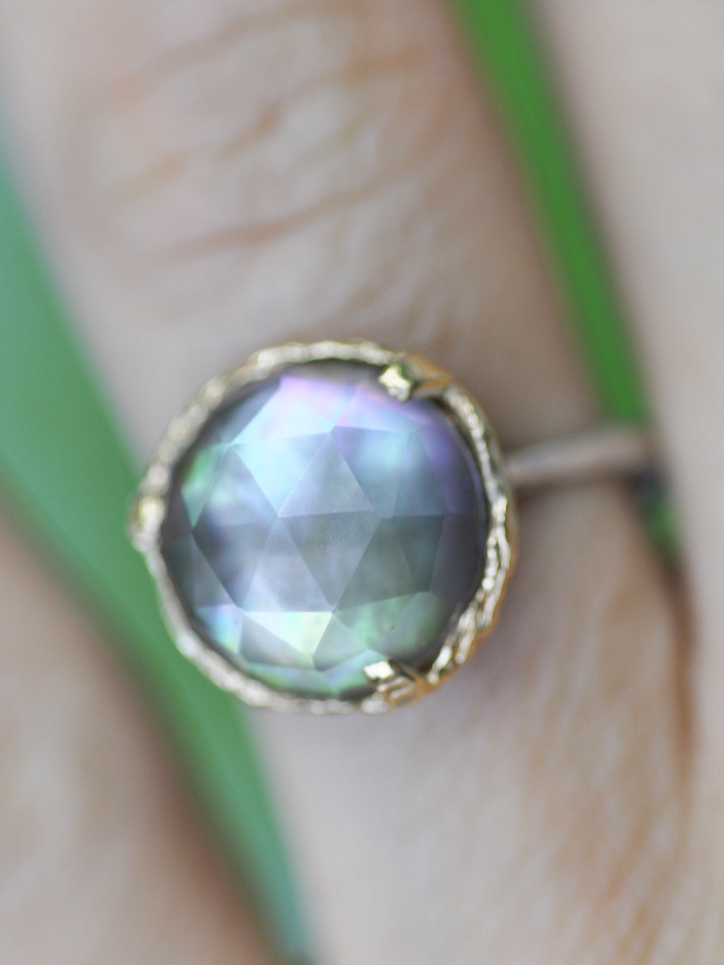 14K Mystic Orb Mother of Pearl+Quartz Ring