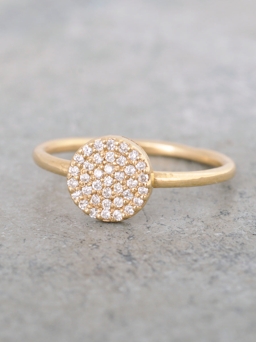 14K Pave Diamond Disk Ring - LUNESSA