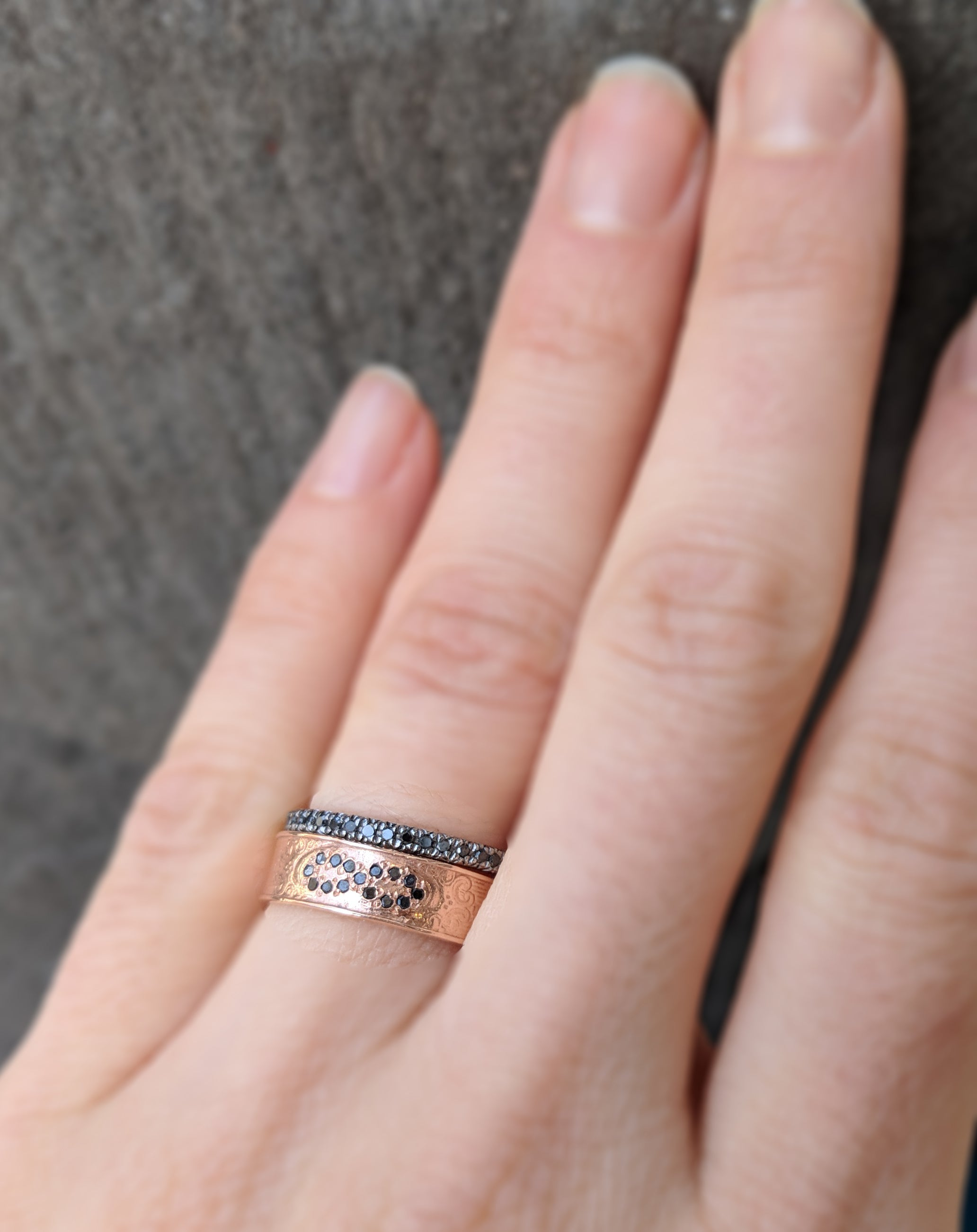 Rose Gold Antique Pave Diamond Infinity Ring