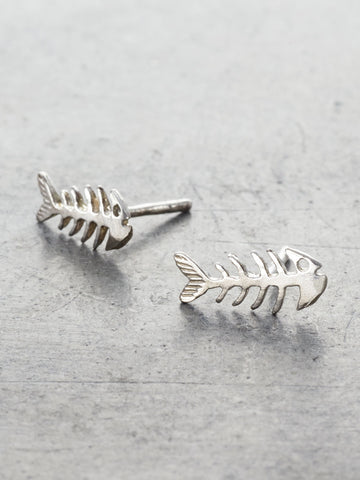 skeleton fish post earrings