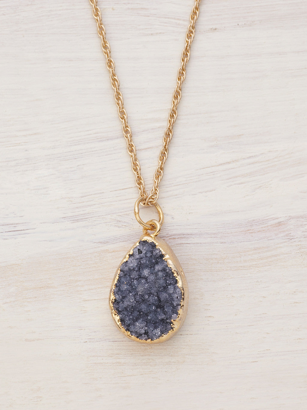Small Druzy Teardrop Necklace - Dark Shadow