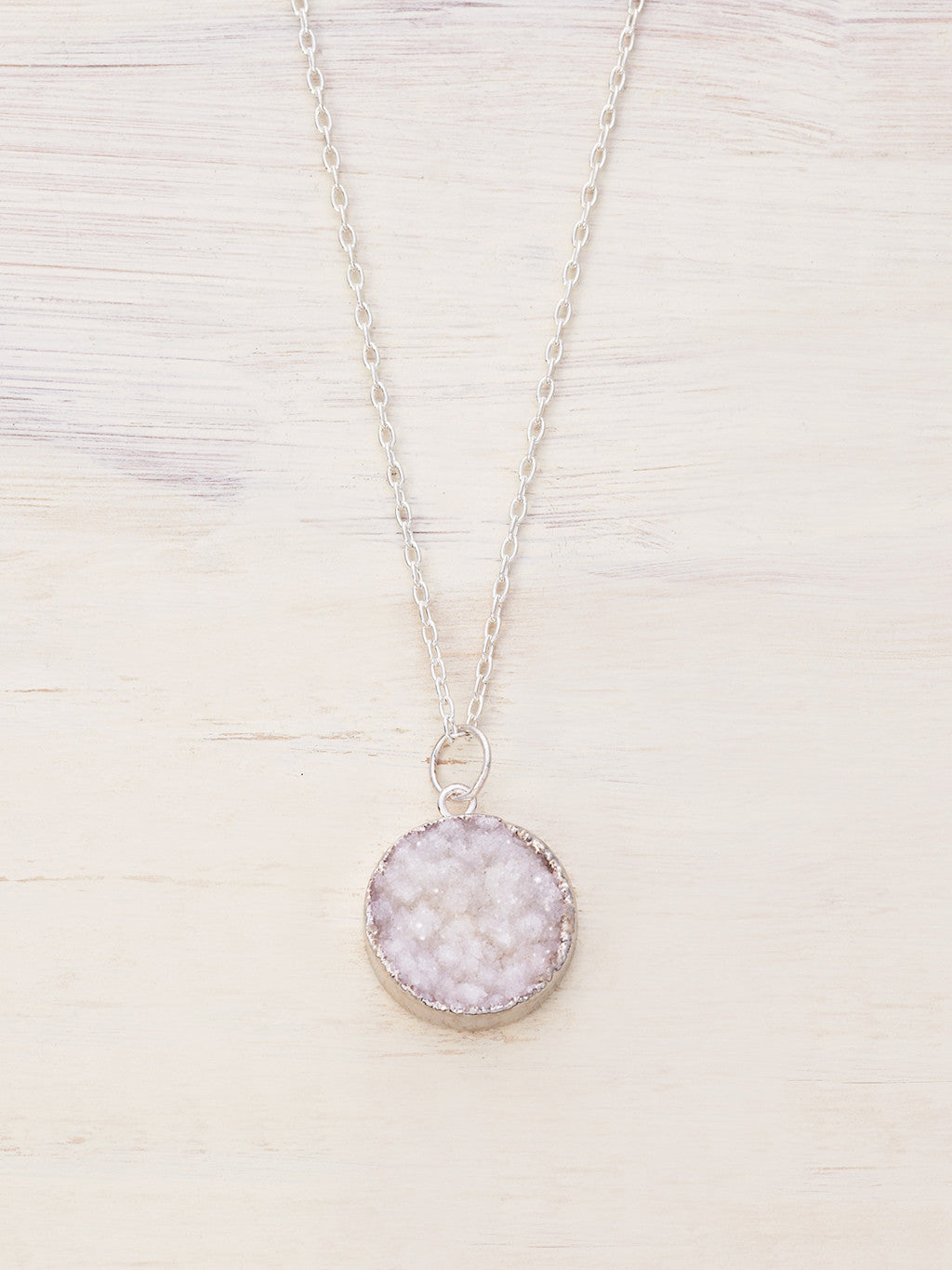 Small Round Druzy Necklace - White