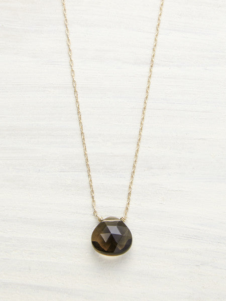 Smokey Topaz Gem Drop Necklace - LUNESSA