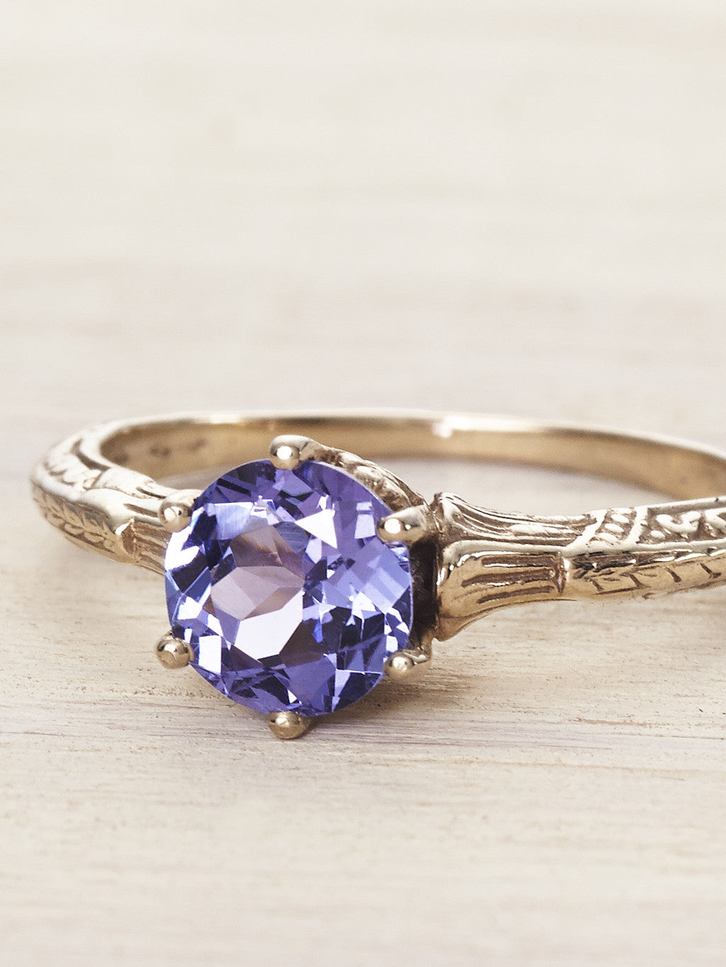 14K Antique Edwardian Solitaire Ring - Tanzanite - LUNESSA