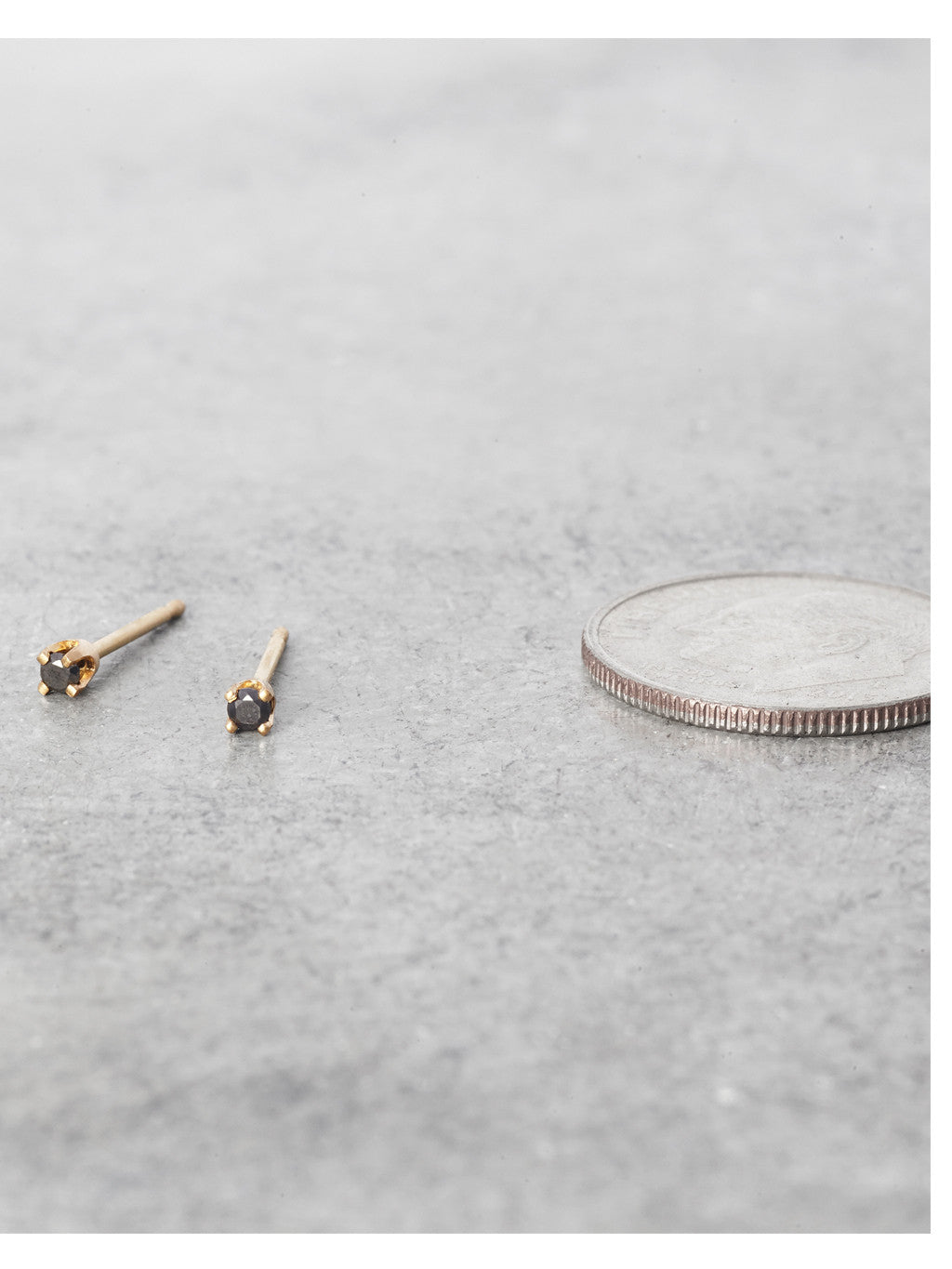 14K Tiniest Black Diamond Posts 1.75mm