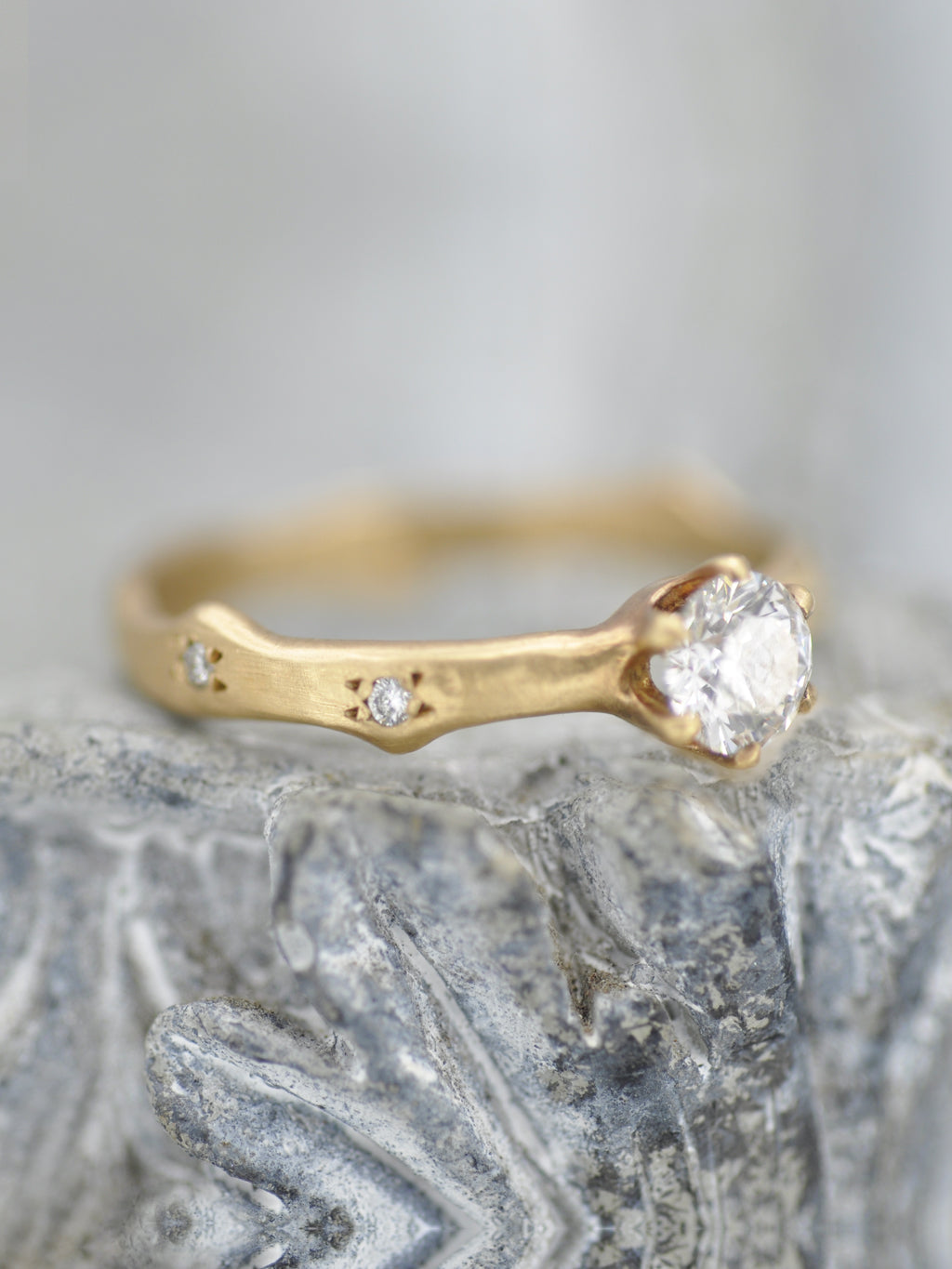 Willow Solitaire Diamond Branch Ring
