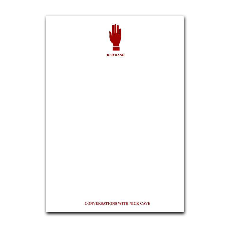 Red Hand Notepad White