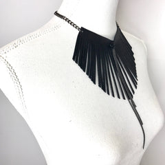 Black Fringe Chain Necklace