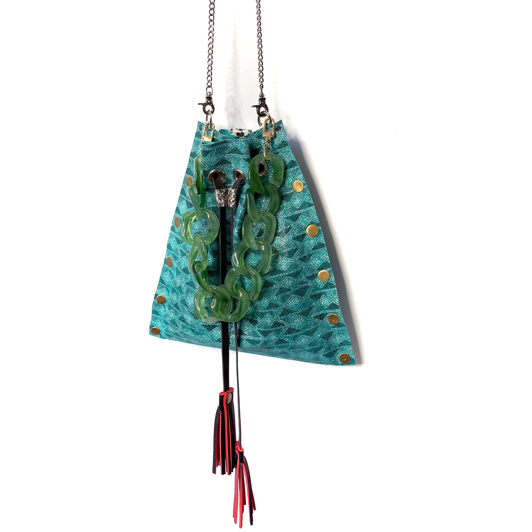 Teal Aztec Drawstring Crossbody Bag - available upon request