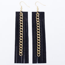 Black Leather Fringe Earrings - Gold Chain
