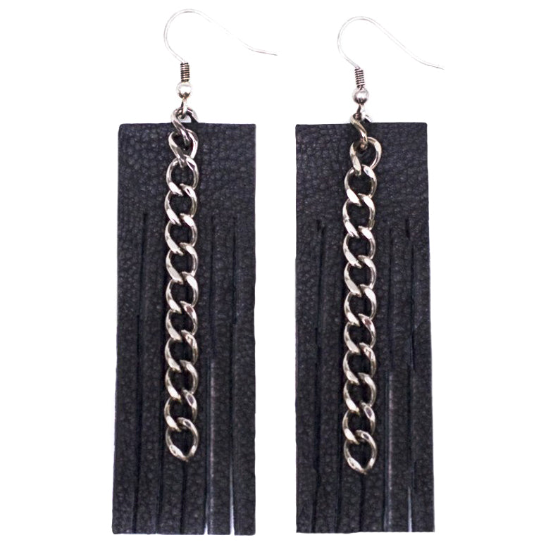 Fringe & Chain Earrings- Black // Gunmetal