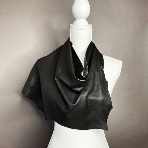 Oversized Black Leather Scarf / Poncho