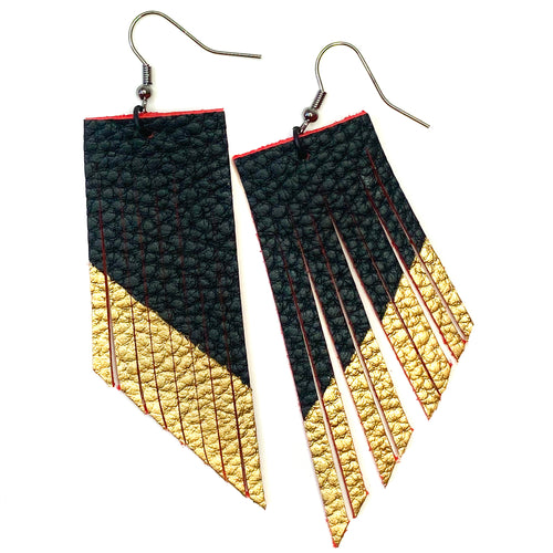 Black and Red Fringe Earrings - Gold Paint