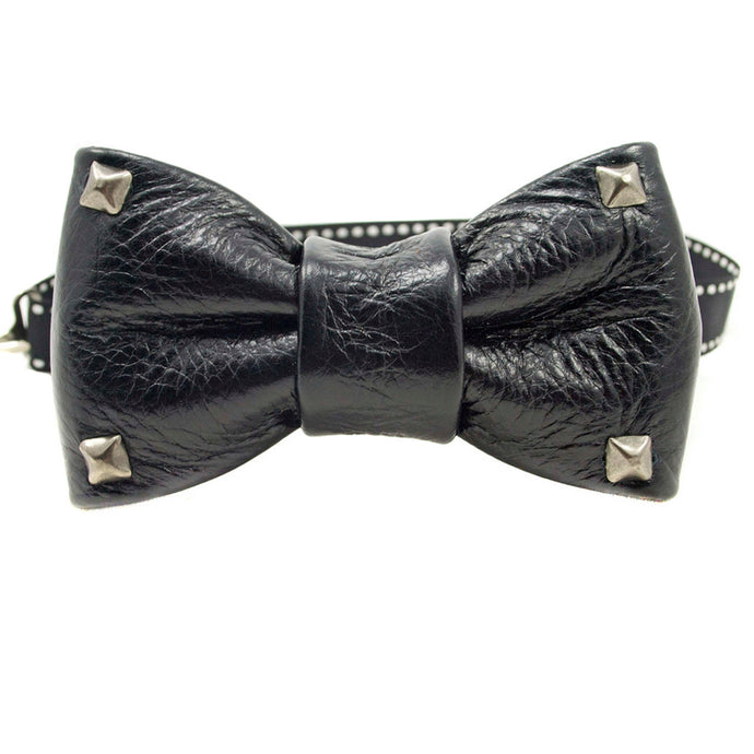 Black Studded Leather Bow Tie