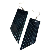 Black Patent Leather + Turquoise Fringe Earrings