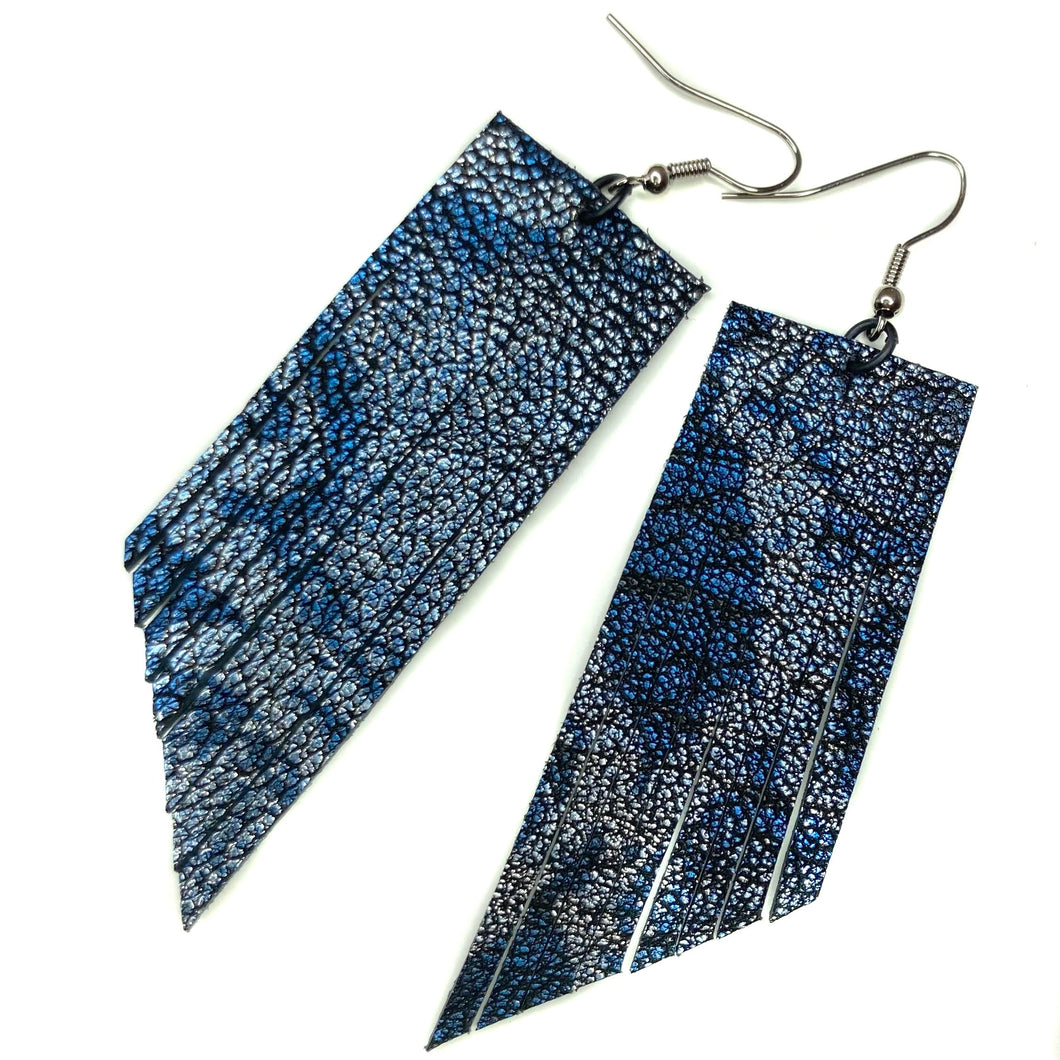 Metallic Blue Python Print Fringe Earrings