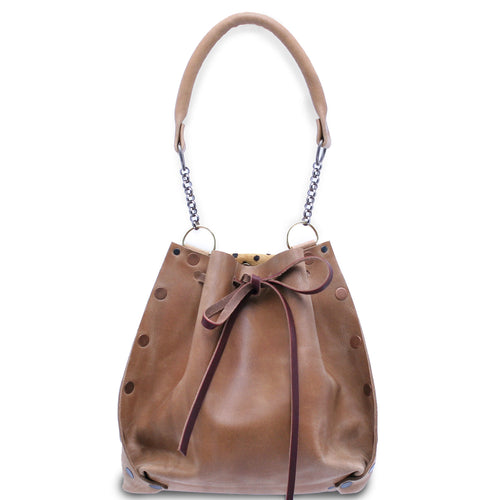 Nubuck Leather Drawstring Tote Bag
