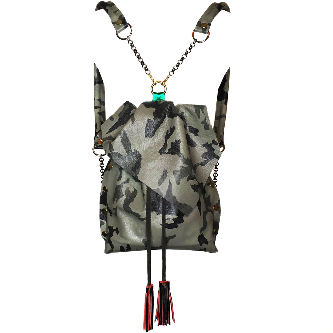 Camo Grey Convertible Backpack