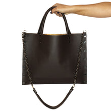 """Michelle"" Chocolate Leather Large Crossbody Bag"