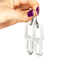 Clear Acrylic Chain 2 Link Earrings