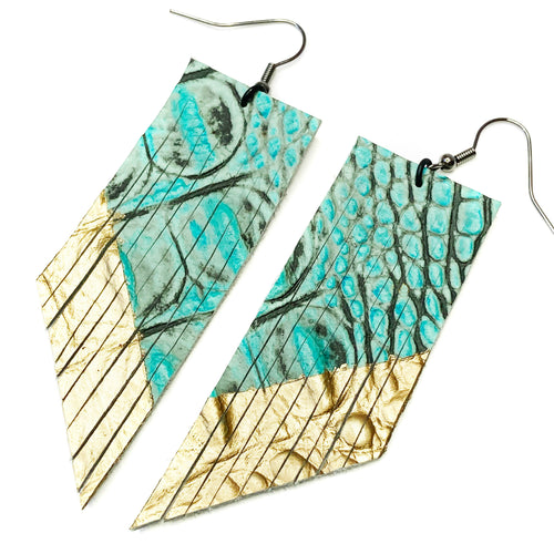 Turquoise Croc Fringe Earrings - Gold Paint