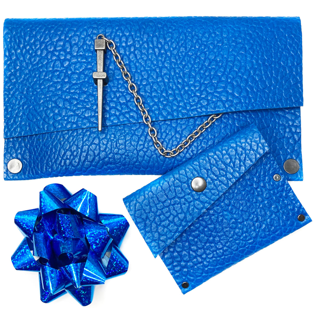 Electric Blue Dagger Clutch + Wallet GIFT SET