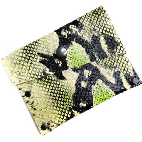 Electric Green Snake Snap Wallet