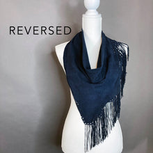 Eyelet & Fringe Navy Leather Scarf- Oversized