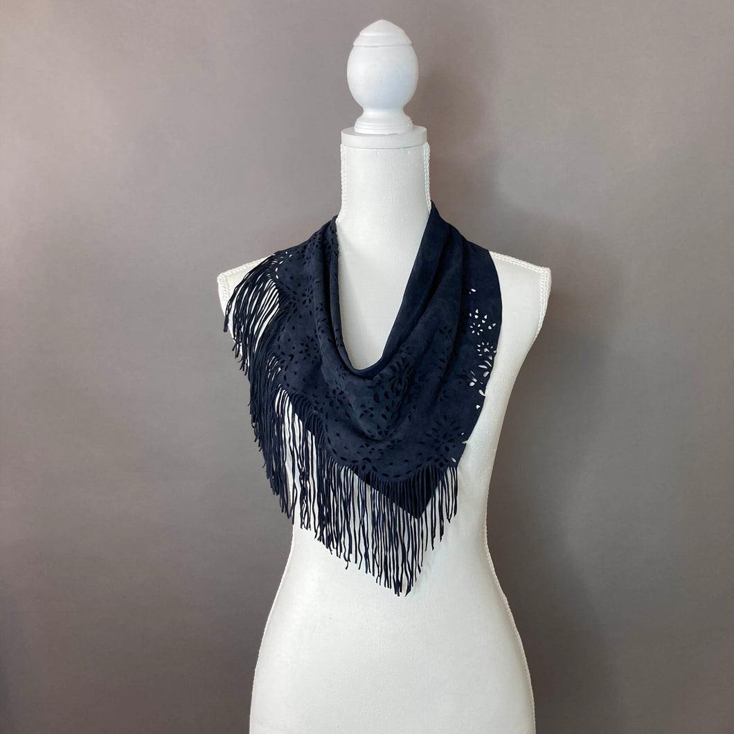 Eyelet & Fringe Navy Leather Scarf- Medium