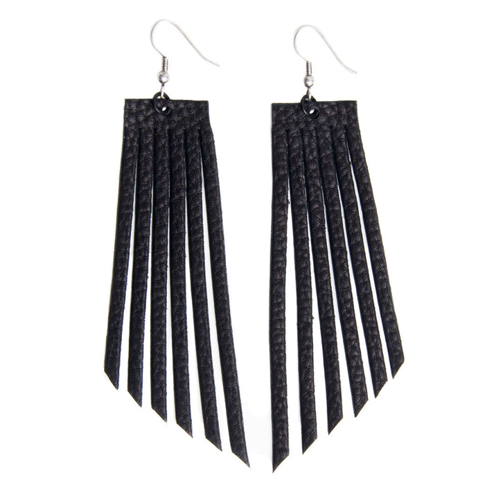Arrow Fringe Earrings- Black
