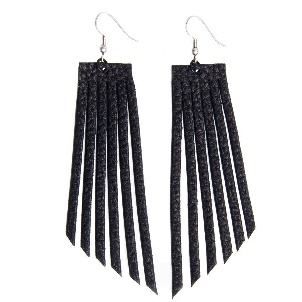 Black Leather Fringe Arrow Earrings