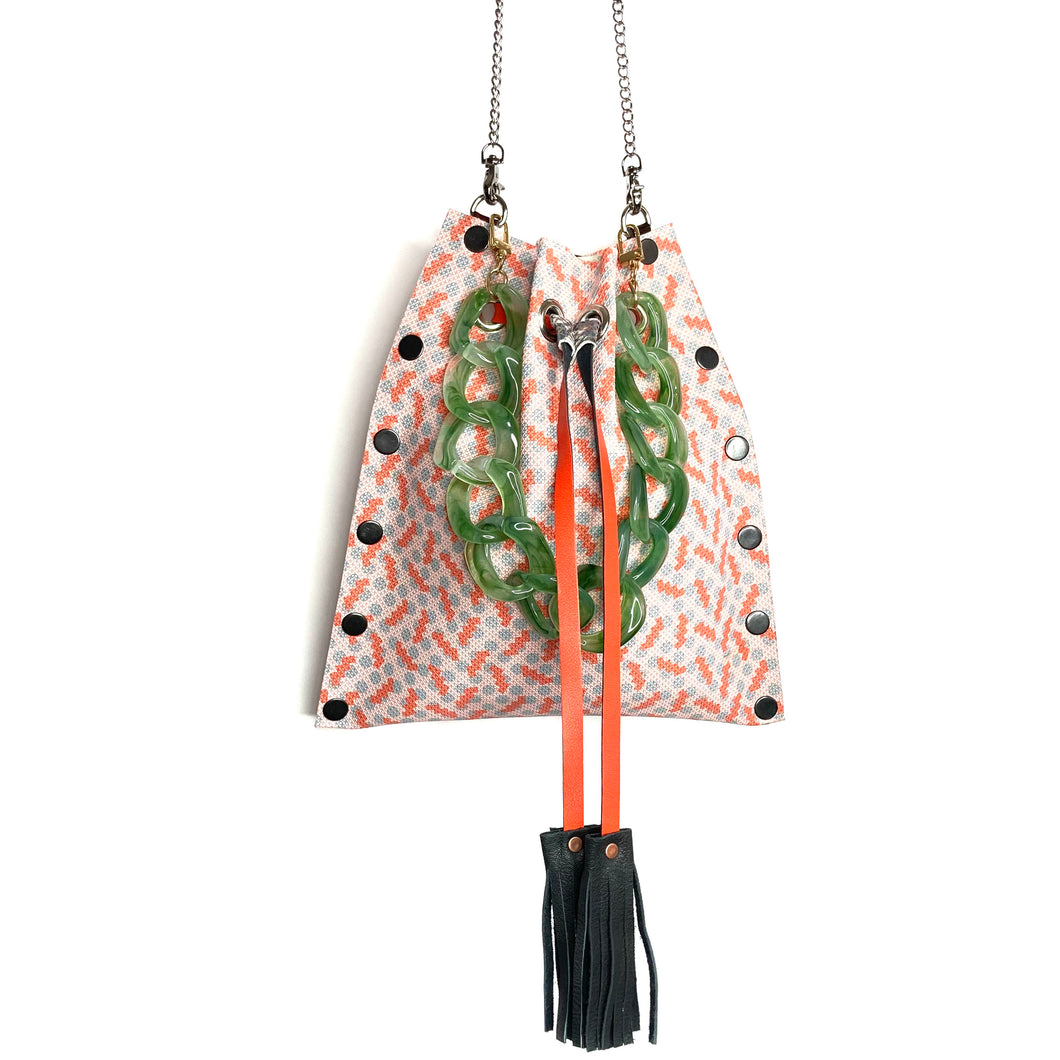 Palm Springs Print Drawstring Crossbody Bag