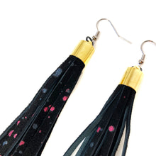 Black Glitter Splatter Tassel Earrings