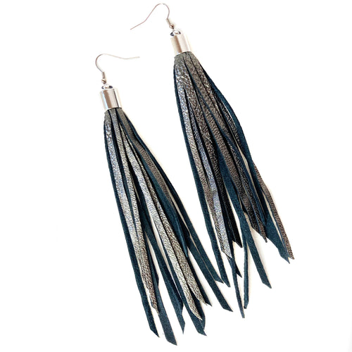 Gunmetal Tassel Earrings (only 4 pair)