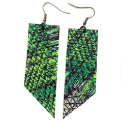 Green/White ZigZag Fringe Earrings