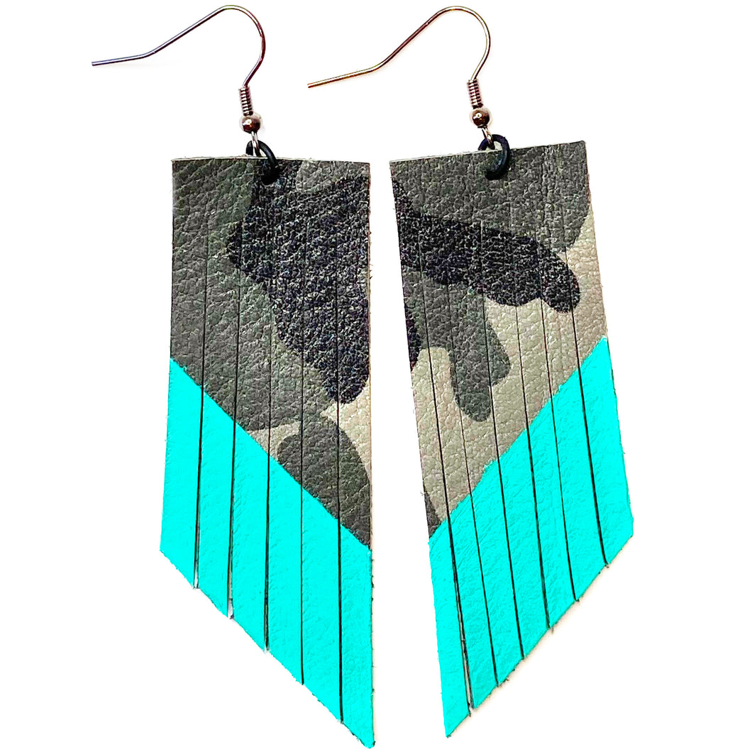 Grey Camo Fringe Earrings - Turquoise Paint