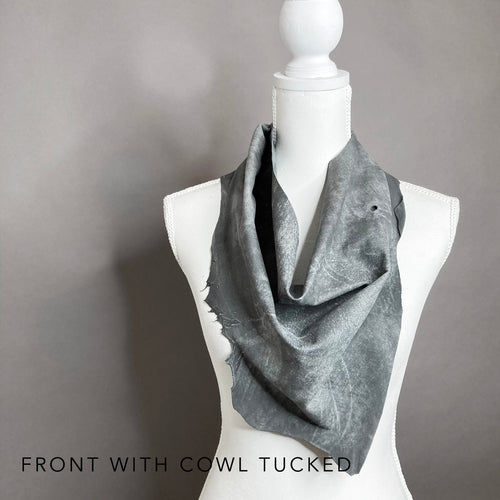 Jill Grey Leather Scarf