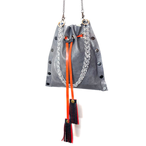 Grey Drawstring Crossbody Bag