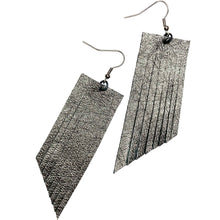 Metallic Gunmetal Fringe Earrings